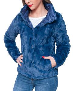 manteau de de manteau hiver fourrure cobalt veste fourrure de bleu femme fourrure Manteau XwzRIaqz