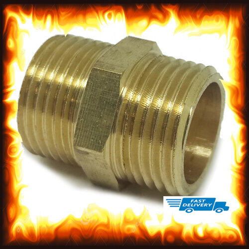 Brass 3/8 Inch 3 8 BSP Straight Male to Nipples Equal Connectors Repair Coupler