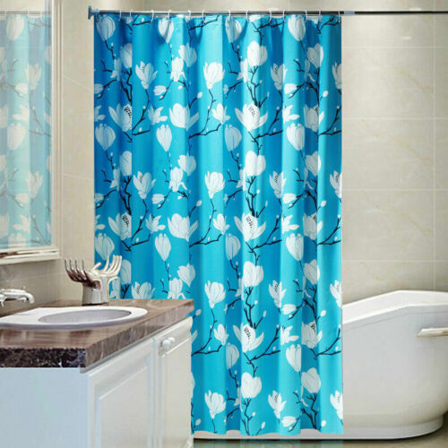 Floral Fabric Shower Curtains Bathroom Water Repellant Mould Proof Curtain Rings