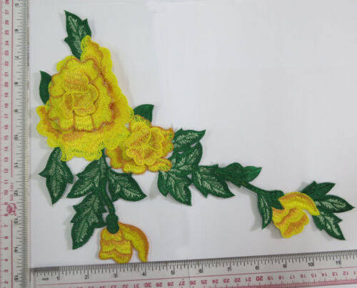 Appliques Embroidery Patch Motif Floral Double Layered 3D Flower for Sew on 1pc