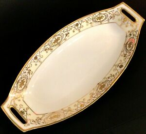 "NIPPON SERVING BOWL HANDLED GOLD MORIAGE DESIGNS 12 5/8"" ANTIQUE LATE 1800'S"