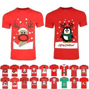 Womens Mens Xmas T Shirt Christmas Unisex Santa Reindeer Snowman Novelty Tee Top