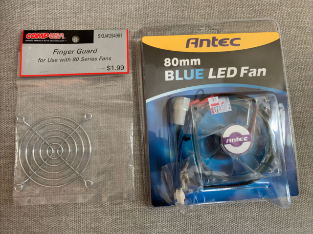 NWT Antec 80 mm Blue LED Fan And Finger Guard LOT Computer Gaming Accessories
