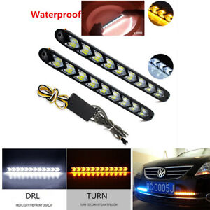 2X-Car-Xenon-White-Amber-LED-Light-Strip-DRL-Turn-Signal-Headlight-Arrow-Flasher