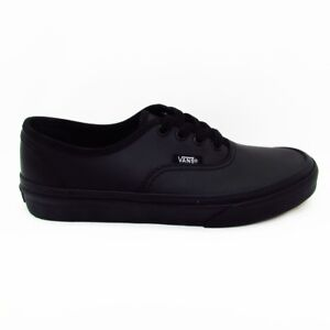 616218c0422a55 Image is loading Vans-AUTHENTIC-BLACK-LEATHER-KIDS-SHOES