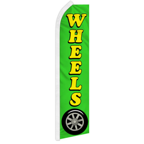 Wheels Swooper Flag Advertising Feather Flag Tires Rims Auto Service Cars Trucks