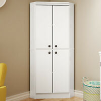 White Wardrobe Armoire Storage Closet Wood Clothes Cabinet Bedroom Furniture