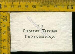 Ex Libris Antico Originale a 656 Girolamo Trevisan Protomedico GSRbdN5e-09091916-147030684