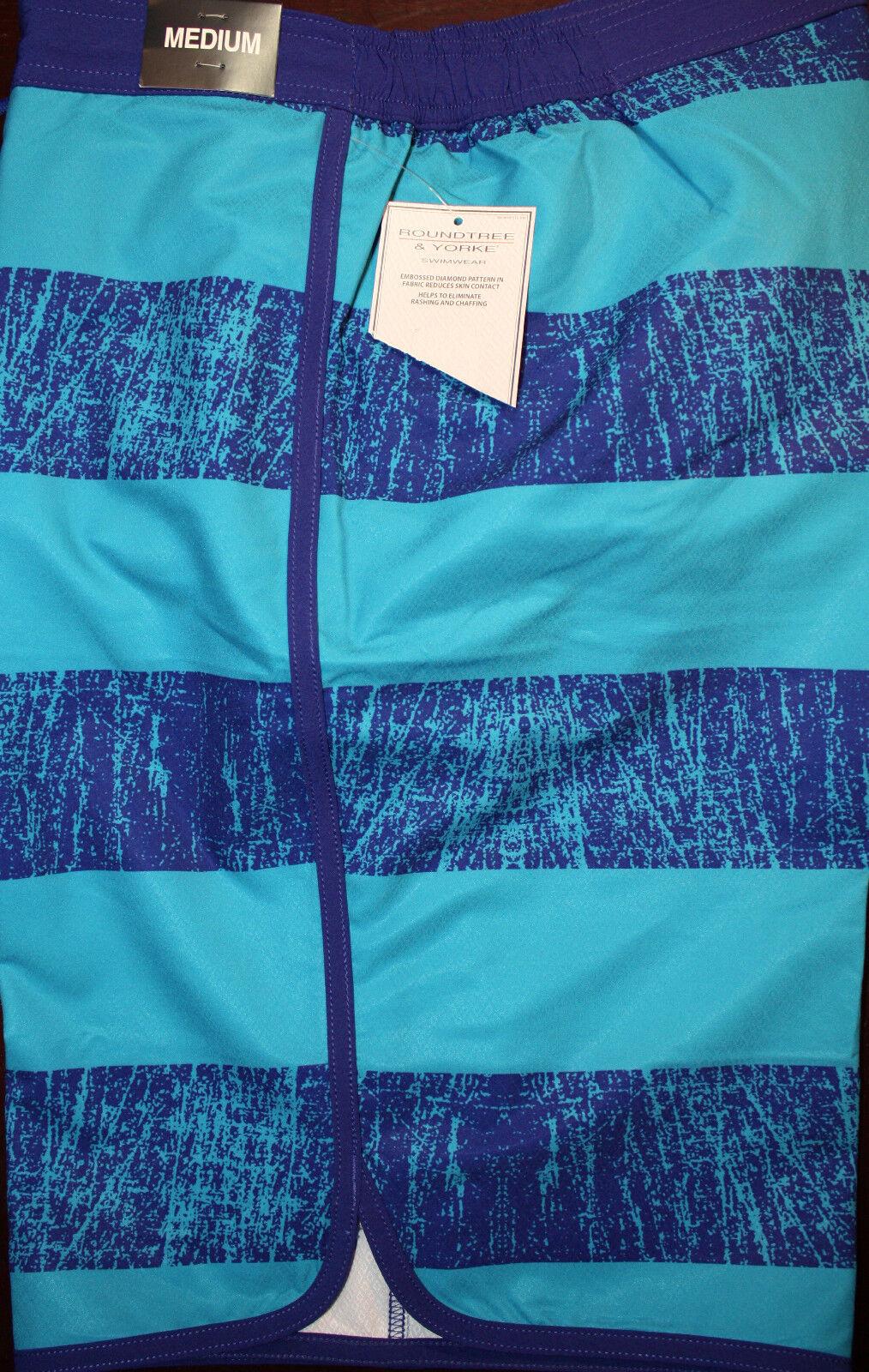 DILLARD'S CREMIEUX Nautical Striped Elastic Mens Swimwear Trunks M  F881 Rt