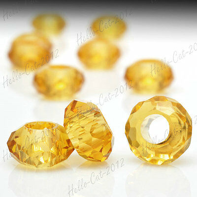 10x Center Drilled Crystal European Glass Beads Jewelry Making 14x14x8mm CR0255