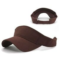 Brown Brushed Cotton Golf Tennis Plain Adjustable Sun Visor Cap Caps Hat Hats