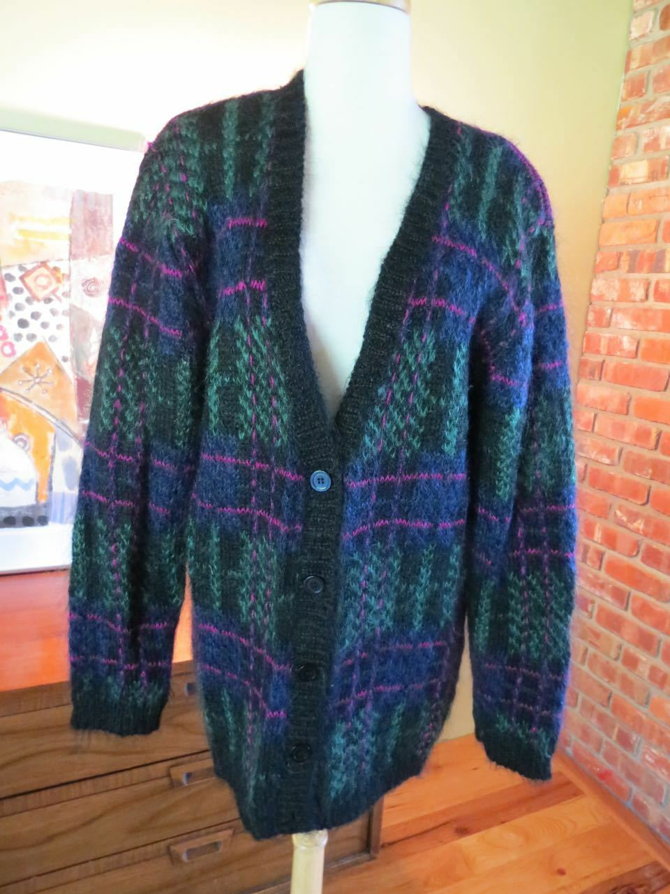 Vintage Tartan Plaid Mohair Wool Sweater Susan Bristol M. eeuc