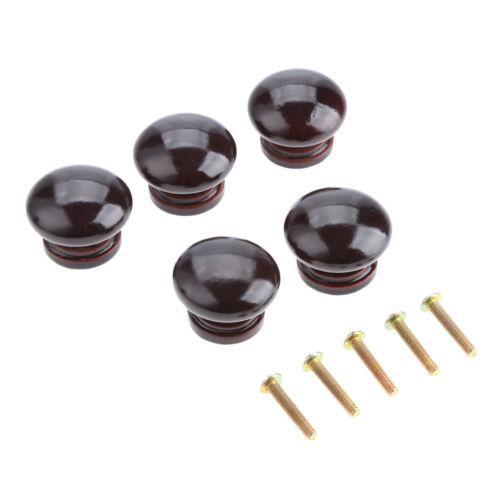 5PCS//SET 34mm*25mm Wooden Cabinet Drawer Wardrobe Door Closet Knobs Pulls Handle