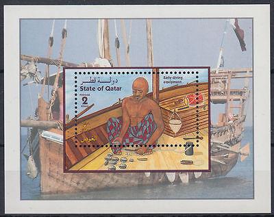Qatar 1998 ** Bl.35 Perlen Taucher Pearls Diving Schiff