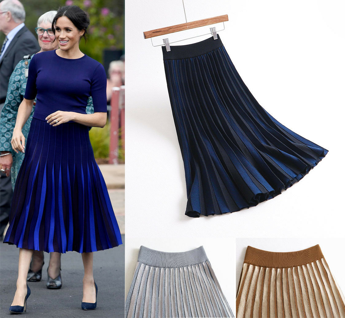 Meghan Markle Concertina Fine Pleated Knitted Stripe Royal Navy bluee Midi Skirt