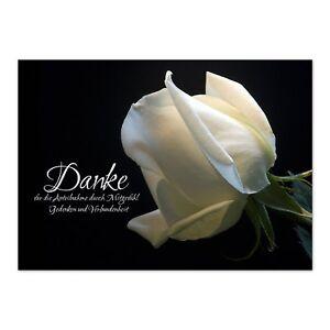 15 x Danksagung Trauerkarten mit Umschlag Weiße Rose zum bedanken bei Sterbefall