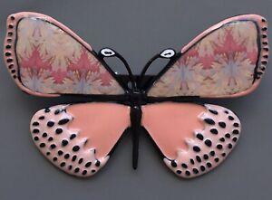 Unique-large-pink-Butterfly-Brooch-enamel-on-Metal
