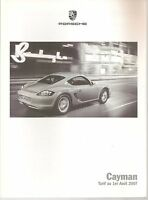 CATALOGUE PORSCHE des OPTIONS pour PORSCHE CAYMAN 987 2007