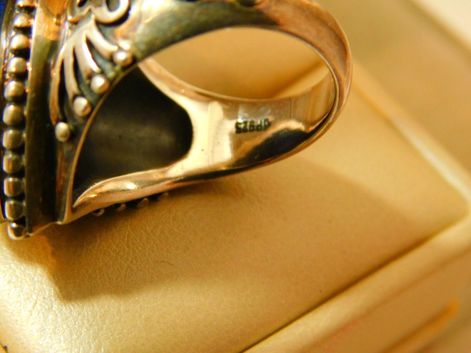 Spesso Blu Lapislazzuli Pera Cabochon Pietra Pietra Pietra argentoo Sterling Misura 9 Anello 9a ad776a