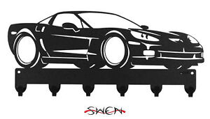 SWEN Products FARRELL C-VET 2009 CORVETTE Black Metal Key Chain Holder Hanger