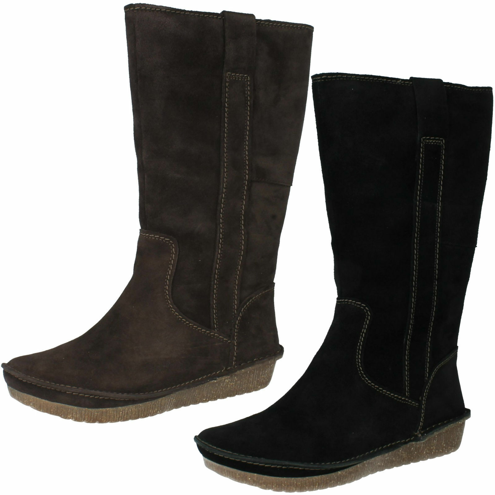 LADIES CLARKS SUEDE PULL ON FLAT WARM LINED LIMA MID CALF WINTER BOOTS LIMA LINED RHAPSODY 870013