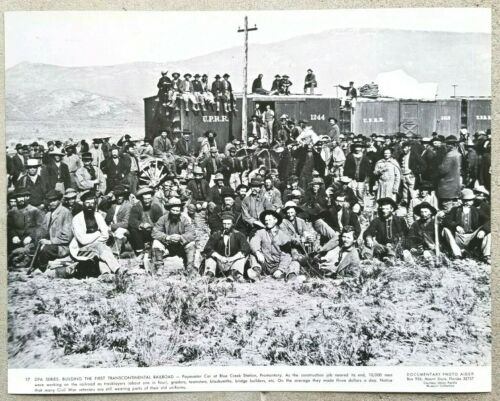 Vintage 11x14 Photo First Transcontinental Railroad Paymaster Car Workmen Group