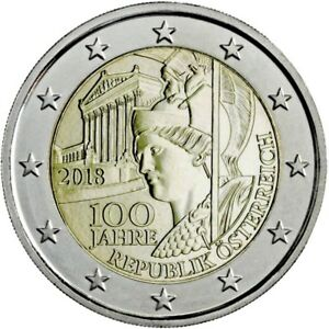 """ÖSTERREICH - 2 EUROS Gedenkmünzen 2018 """" 100 Jahre Republik Österreich """" UNC"""