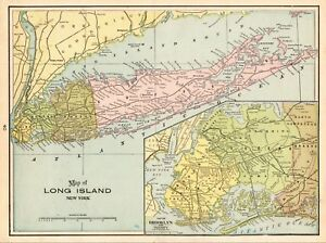 1901 Antique Long Island Map Vintage Map Of Long Island New York