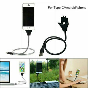 Lazy-Stand-Up-Charging-Cable-Flexible-Phone-Holder-Bracket-USB-Charger-iPhone-VE