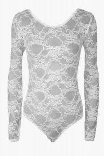 New Women Long Sleeve Lace Insert Plain Stretch Leotard Bodysuit Womens Top AF