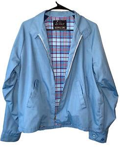 Vintage-60-s-SEARS-SPORTSWEAR-Blue-Zip-Tab-Collar-Cafe-Racer-Harrington-Jacket-L