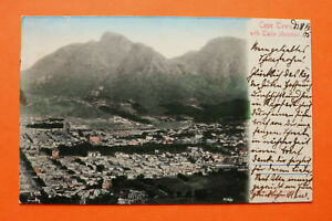 Afrika-Suedafrika-AK-Cape-Town-Capetown-Table-Mountain-City-Streets-1905-Houses