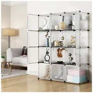 Details About Large Bookcase Modern Tall Display Cube Shelves Bookshelf W Doors 12 Shelf Diy