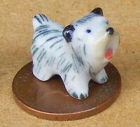 1:12 Dolls House Miniature Small Black & White Ceramic Ornament Puppy Dog F