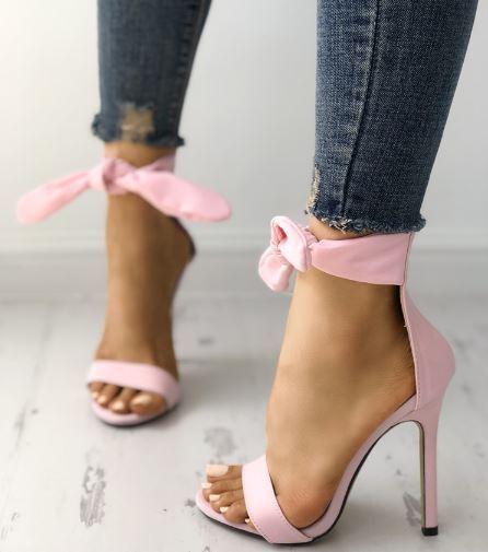 Sandali stiletto tronchetto rosa fiocco 12 cm  simil pelle eleganti 1283