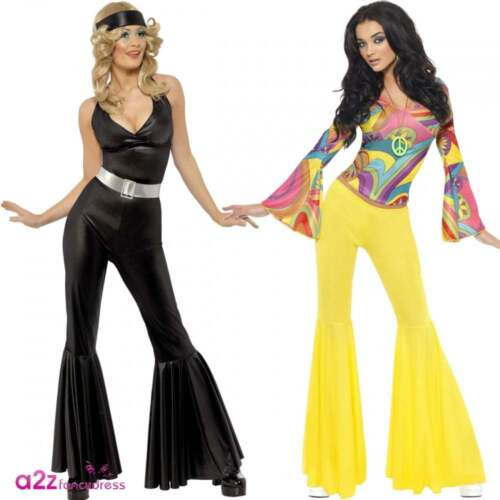 Womens 70s Diva 70/'s Groovy Babe Disco Fever Ladies Adult Fancy Dress Costume