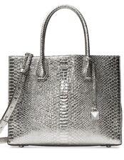 17c88d7b9982 Michael Kors Mercer Metallic Large Leather Convertible Tote Pewter ...