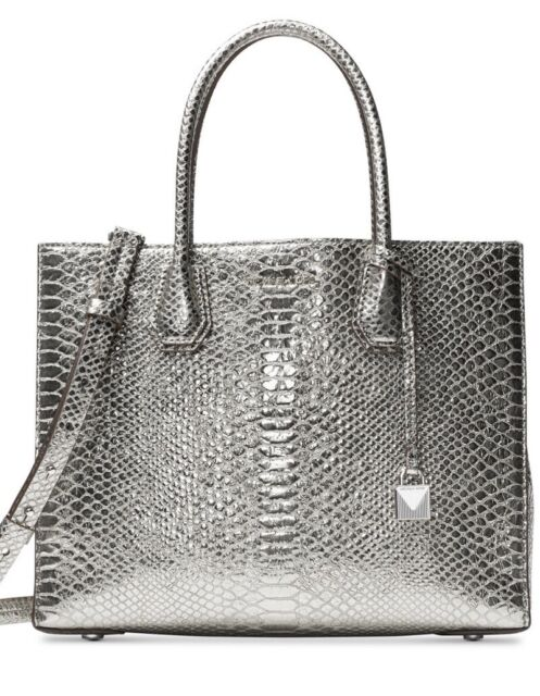 0c1e839cddf2 New Michael Kors Mercer Large Convertible Tote silver luxe metallic leather  bag