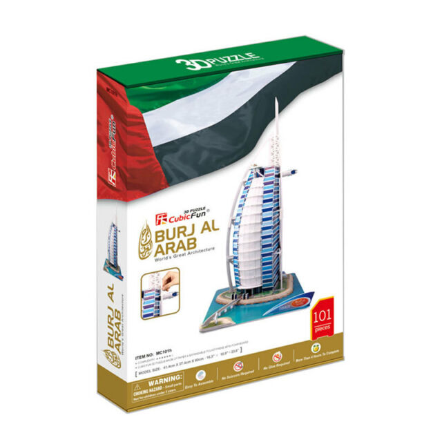 World's Great Architecture Burj Al Arab 101 Piece 3D Model DIY Hobby Build Kit