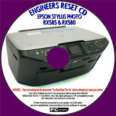EPSON RX585 & RX580 WASTE INK PAD SATURATED ERROR ENGINEERS RESET COUNTER  FIX CD | eBay