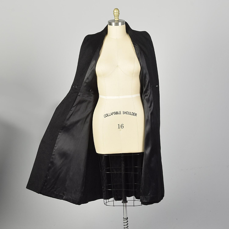 Large 1950s Princess Coat Black Wool Batwing Dolm… - image 4