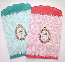 elegant pink & Turquoise floral merci beaucoup paper gift bag envelope 36pcs