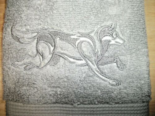 WOODLAND DESIGN EMBROIDERED HAND TOWEL SILVER WOLF