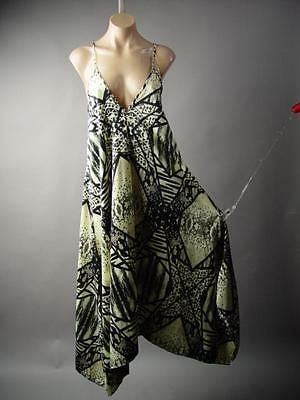 $50 ANGL Satin African Tribal Print Handkerchief Trapeze Slip 212 mv Dress M