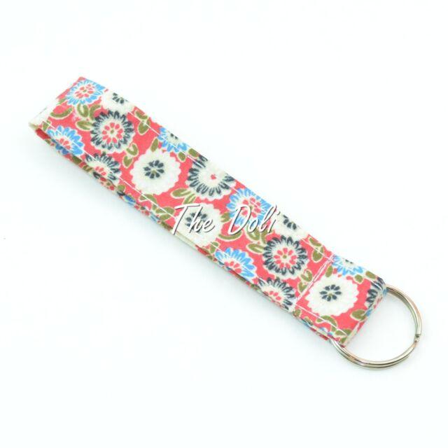 My Floral Print Wristlet Fabric Lanyard Key Fob Key Chain for ID Badge Holder
