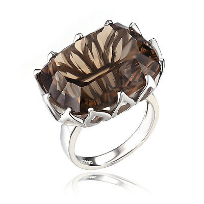 Luxury 20ct Genuine Smoky Quartz Ring 925 Sterling Silver CONCAVE 6 7 8 9 10 11