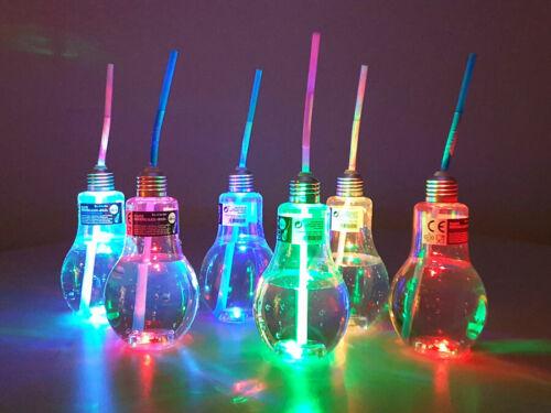 24x Kunststoff Trinkglas Party Zubehör 400 ml Glühlampe LED Gläser mit Trinkhalm