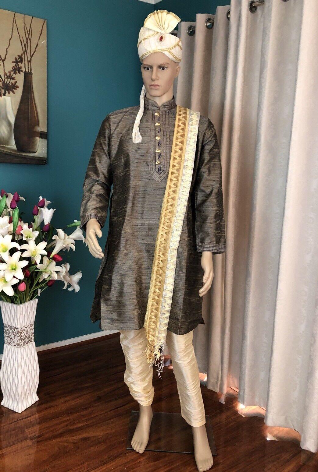 "36"" XS S Sherwani Suit Indian Bollywood Mens Kurtha bluee Grey Outfit Kurta HH33"