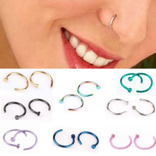 1 Pair Set Fake Septum Clip On Non Piercing Swirls Septum Faux Clicker Nose Ring