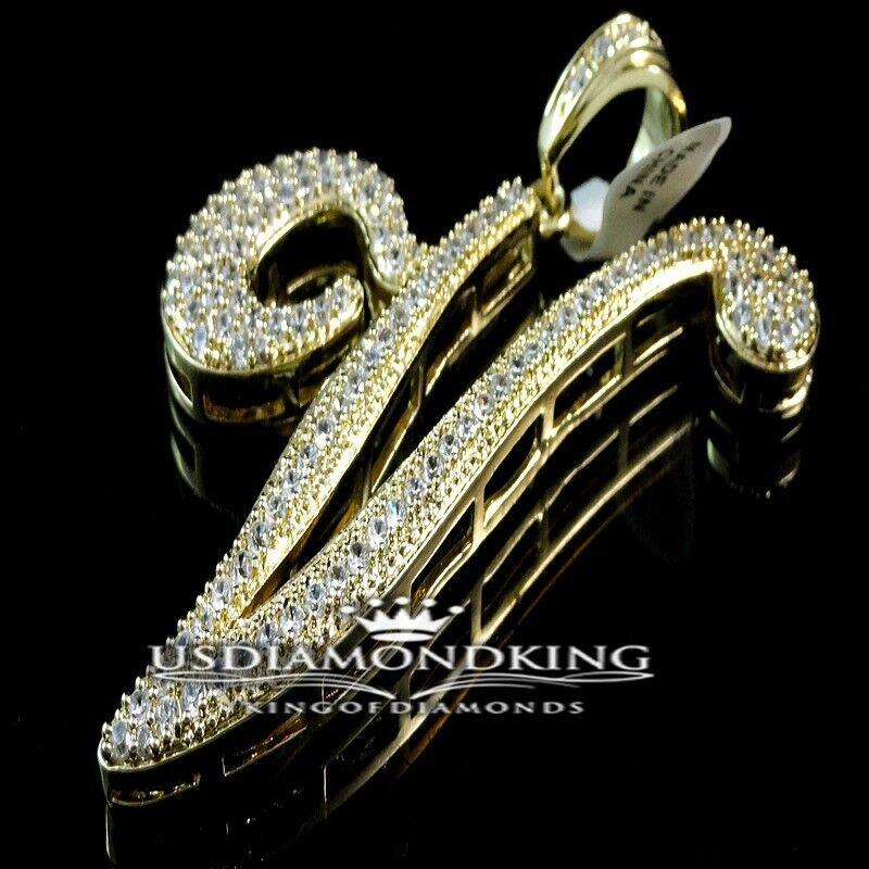 MEN'S 14K YELLOW gold FINISH WHITE LAB DIAMOND INITIAL CURSIVE V CHARM PENDANT